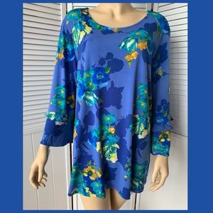 Susan Graver liquid knit blue floral top